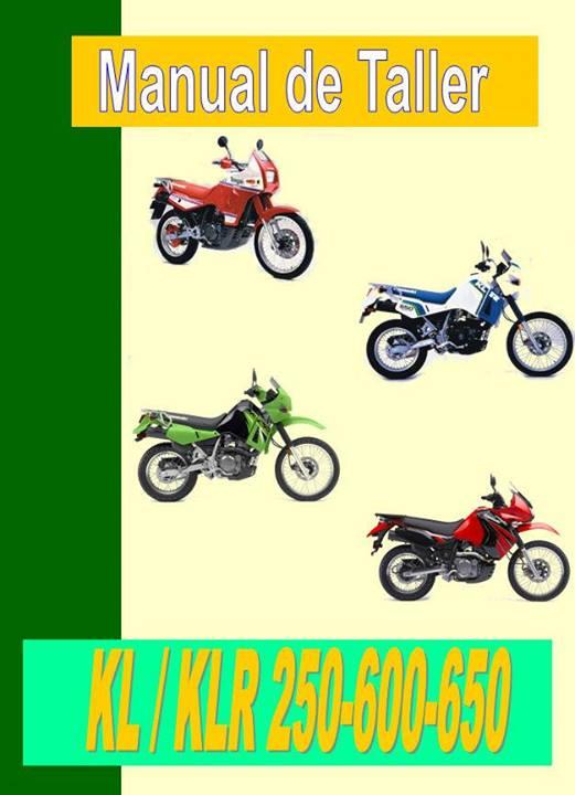 Manual de taller, servicio , despiece y usuario Kawasaki KLR 250 , KLR 600, KLR 650, KL 650 Tengai , ademas incluye datos generales de mantenimiento y puesta a punto en español